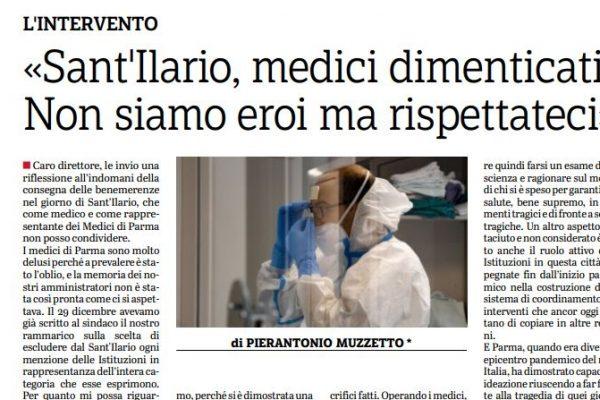 Sant'Ilario, medici dimenticati. Muzzetto interviene sulla Gazzetta di Parma esprimendo il rammarico dell'Ordine.